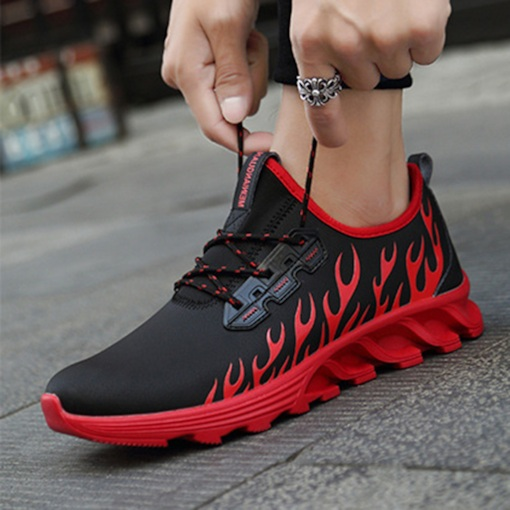 Flat With Lace-Up Mid-Cut Upper Round Toe Chic Men's Sneakers