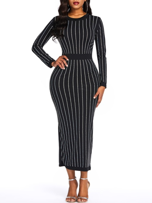 Long Sleeve Sequins Stripe Round Neck Women's Bodycon Dress
