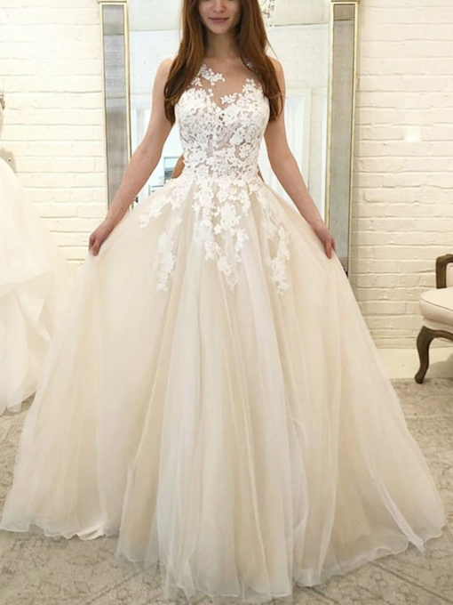 Scoop Neck A-Line Appliques Wedding Dress 2019
