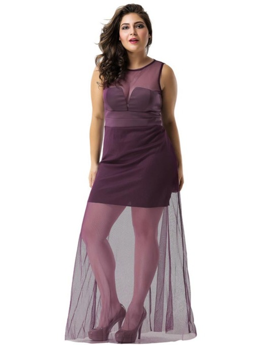 Mesh Sleeveless See Through A-Line Women's Maxi Dress