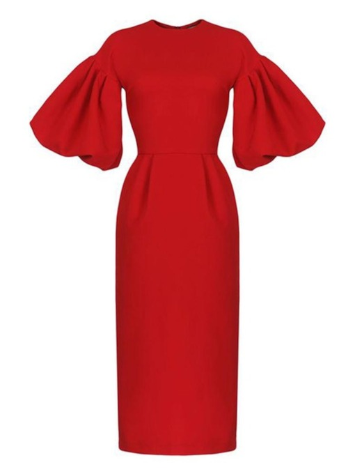 Half Sleeve Round Neck Plain Women's Day Dress