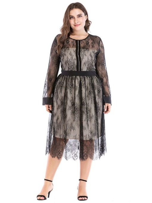 See-Through Long Sleeve Lace Women's Maxi Dress