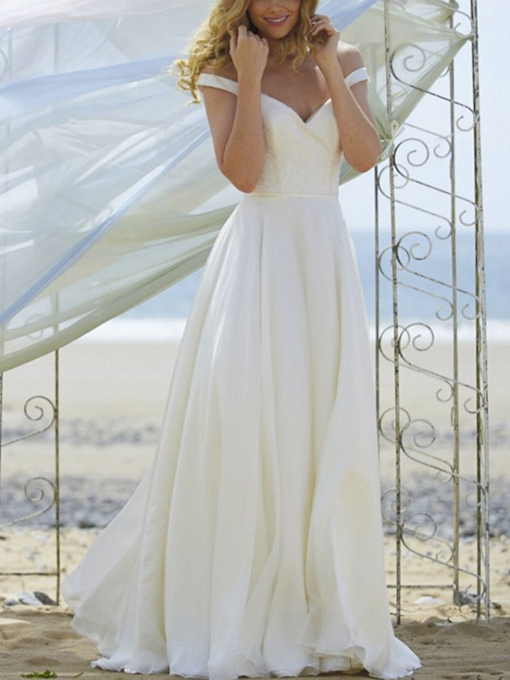 Off the Shoulder A-Line Button Beach Wedding Dress 2019