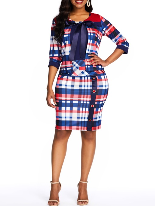 Plaid Patchwork 3/4 Length Sleeves Women's Bodycon Dress