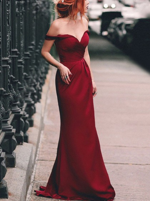 Floor-Length Mermaid Off-The-Shoulder Short Sleeves Evening Dress 2019