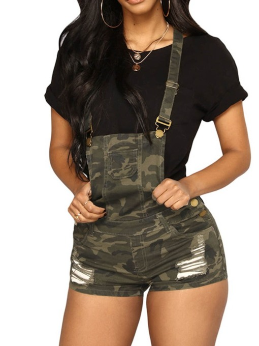 Hole Camouflage Shorts Casual Slim Women's Overalls