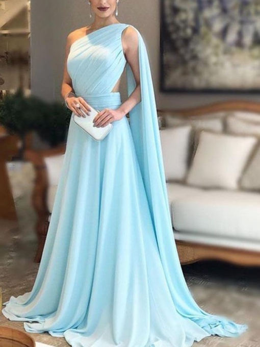 Sleeveless Floor-Length One Shoulder A-Line Evening Dress 2019