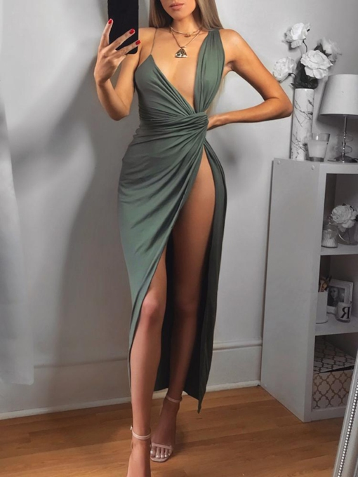 Sweep Train Split-Front Sheath V-Neck Evening Dress 2019