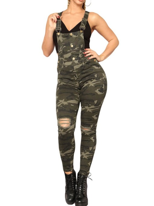 Full Length Casual Camouflage Button Slim Women's Overalls