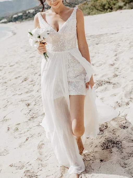 V-Neck Split-Front Sequins Beach Wedding Dress