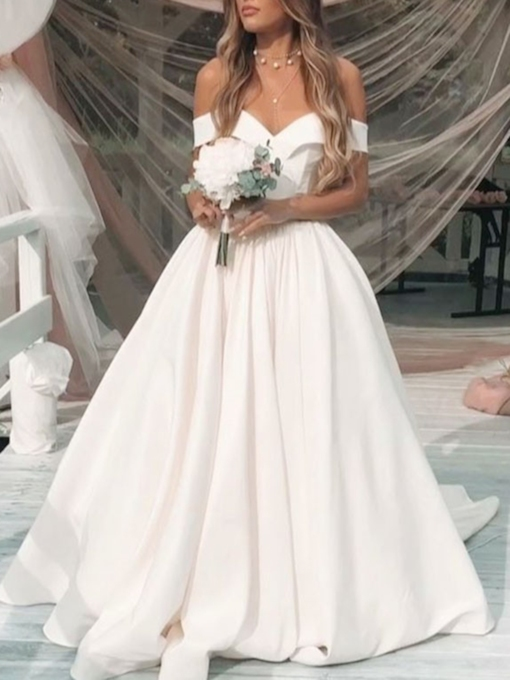 Off-The-Shoulder A-Line Hall Wedding Dress 2019