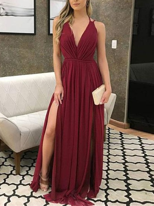 V-Neck Floor-Length A-Line Sleeveless Evening Dress 2019