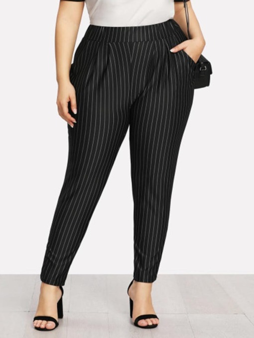 Plus Size Stripe Slim High Waist Women's Casual Pants