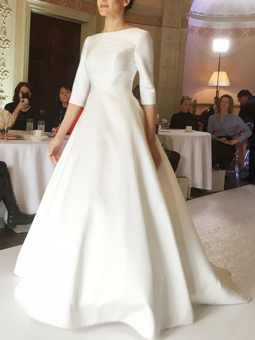 Bateau Neck Half Sleeves Hall Wedding Dress 2019