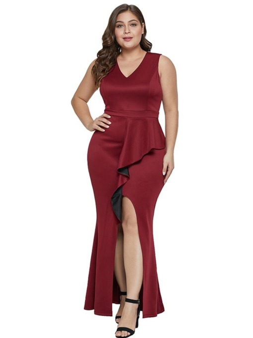 Plus Size Sleeveless V-Neck Split Women's Maxi Dress