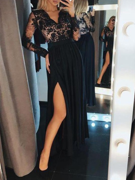 Lace Long Sleeves Appliques A-Line Evening Dress 2019