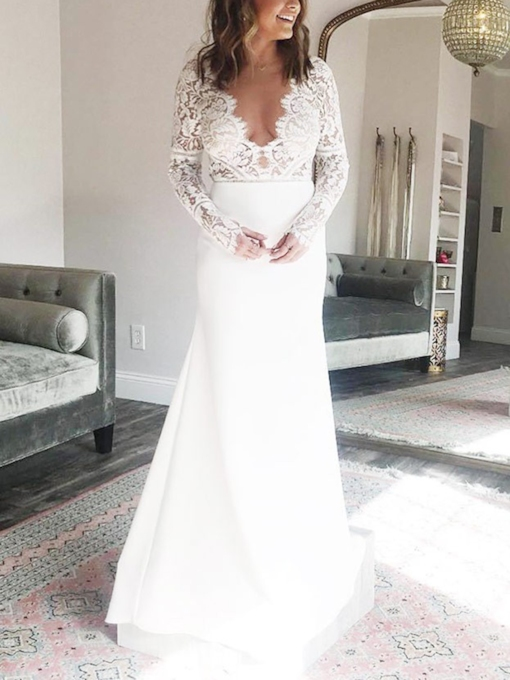 Long Sleeves Mermaid Lace Wedding Dress 2019