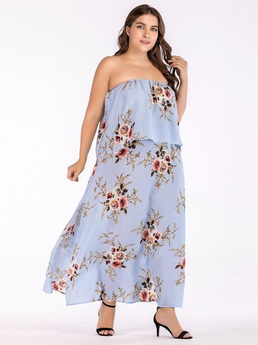 Plus Size Falbala Print Floral Strapless Women's Maxi Dress