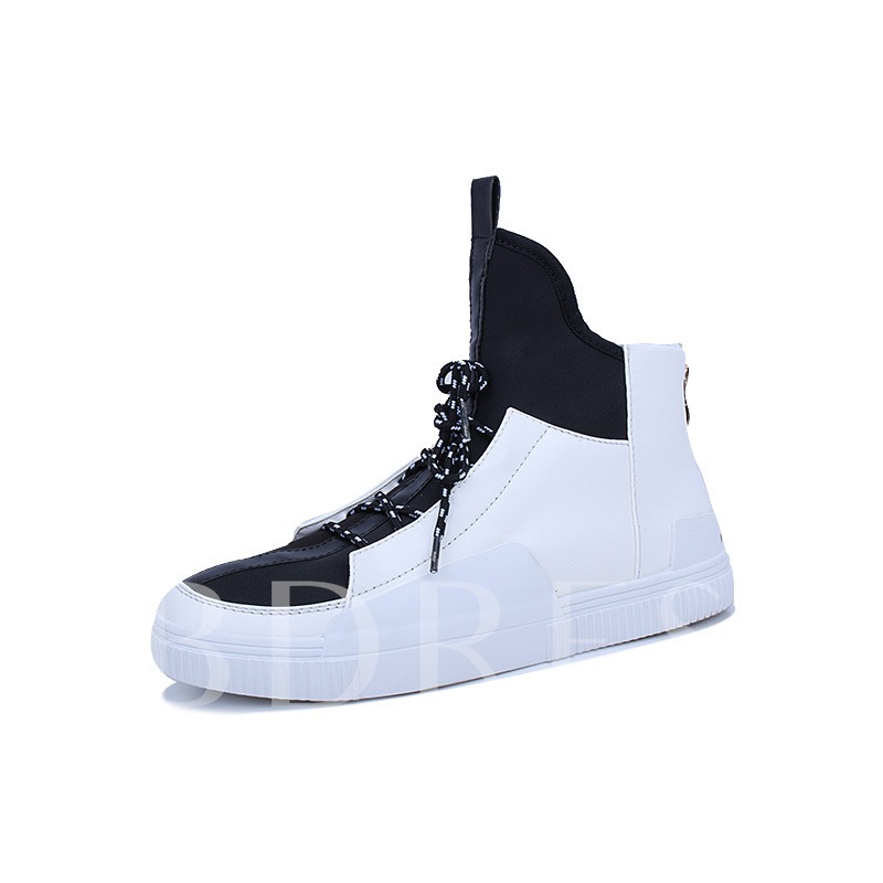 High Top Color Block Round Toe Fashion Men's Skate Shoes
