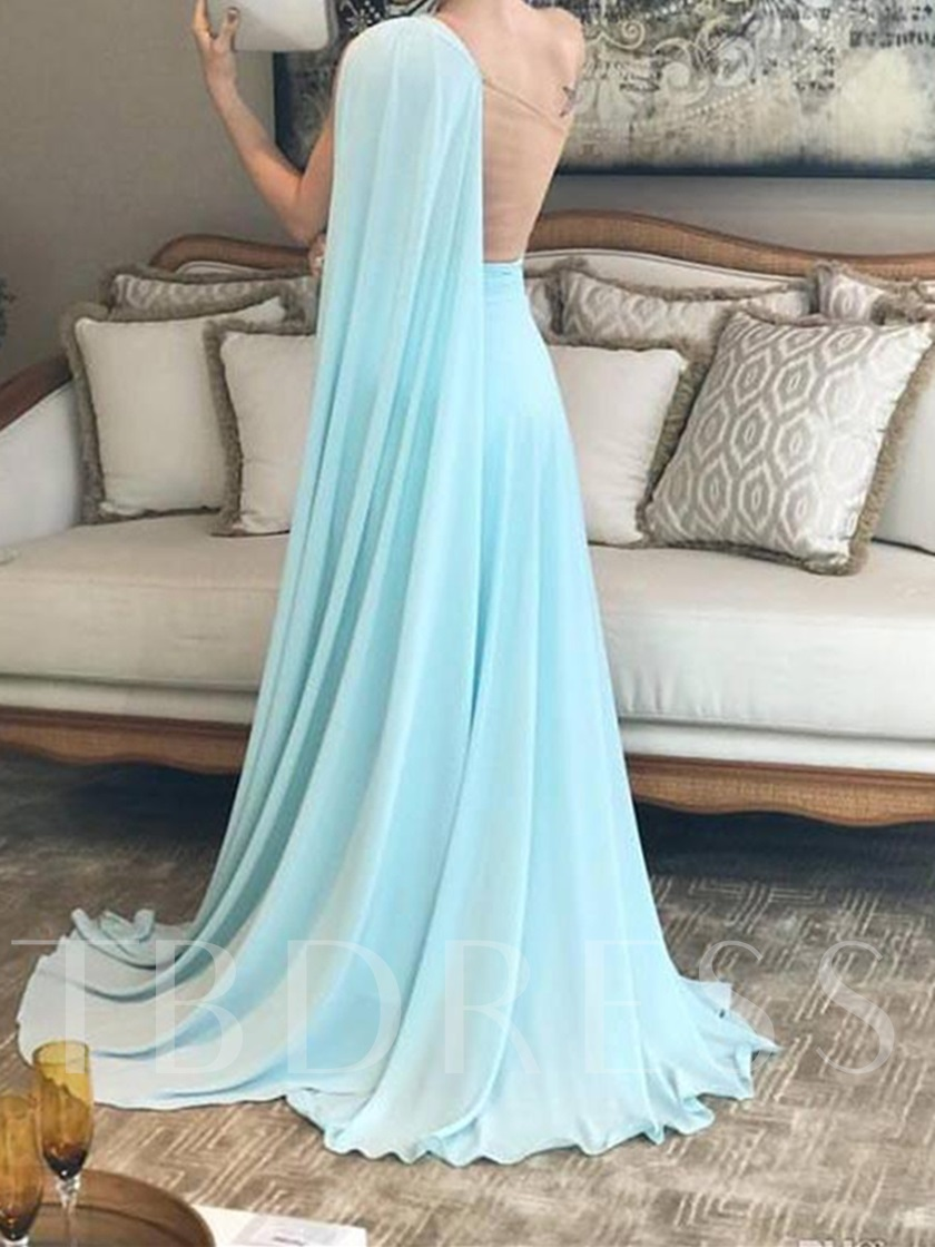 One Shoulder Pleats Sheer Back Evening Dress