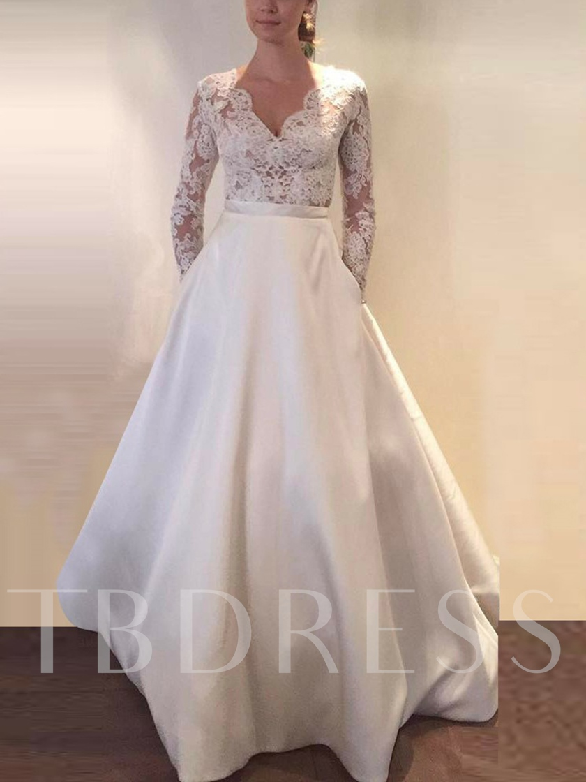 Long Sleeve Button Pockets Lace Wedding Dress 2019