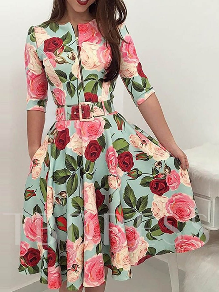 Half Sleeve Floral Print A-Line Women's Day Dress