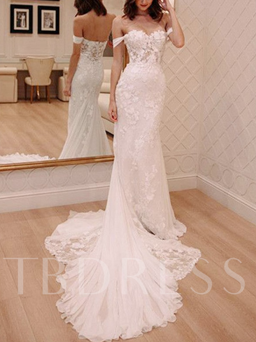 Button Off the Shoulder Mermaid Lace Wedding Dress 2019