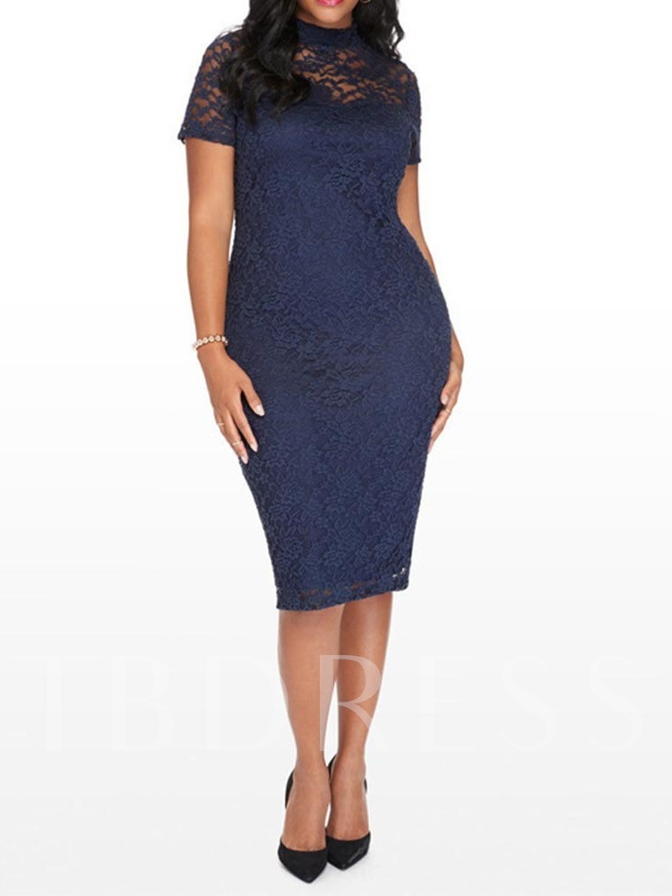 Plus Size Hollow Short Sleeve Office Lady Women's Lace Dress