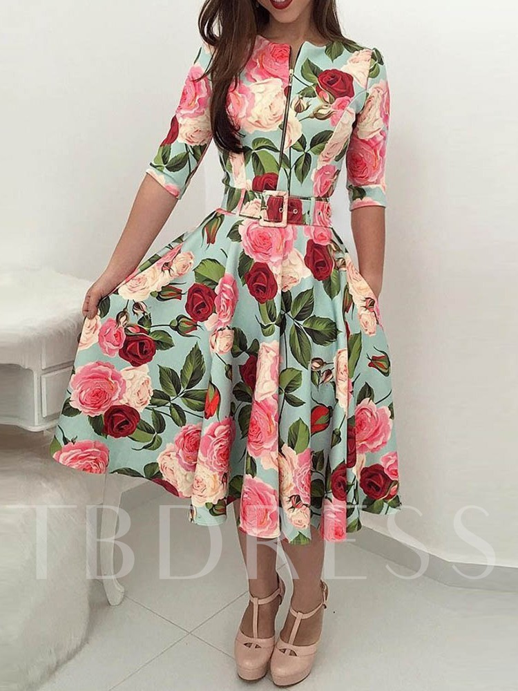 African Fashion Half Sleeve Floral Print A-Line Women's Day Dress