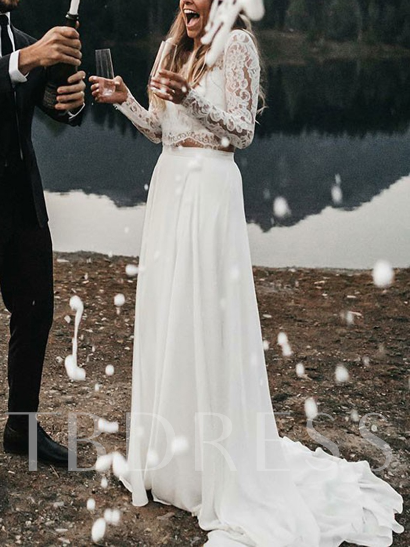 Two Pieces Lace Long Sleeve Wedding Dress 2019