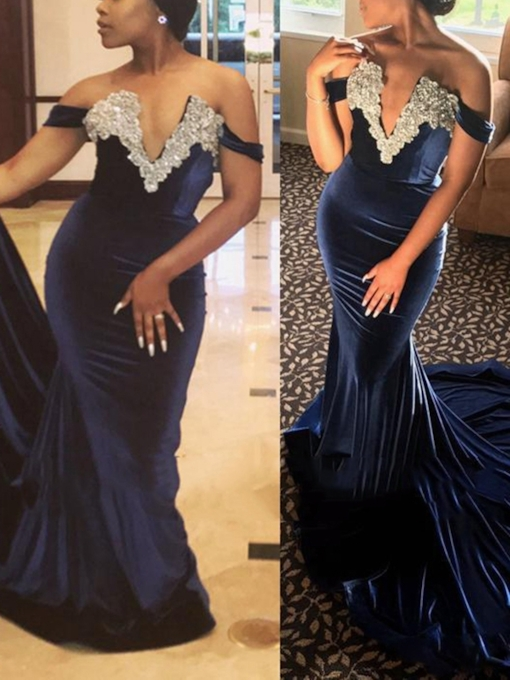 Off-The-Shoulder Appliques Sheath Evening Dress 2019