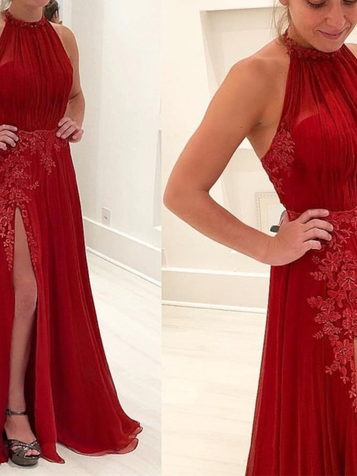A-Line Floor-Length Sleeveless Appliques Evening Dress 2019