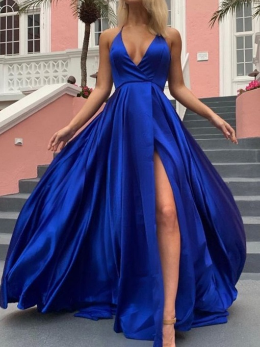 Spaghetti Straps Floor-Length A-Line Sleeveless Evening Dress 2019