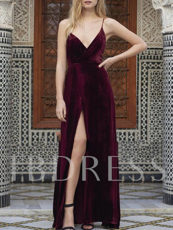 A-Line Split-Front Spaghetti Straps Sleeveless Evening Dress 2019