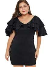 Plus Size Half Sleeve Falbala Women's Bodycon Dress