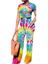 T-Shirt Tie-Dye Gradient Casual Pullover Women's Two Piece Sets