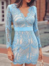 See-Through Nine Points Sleeve Pullover Women's Lace Dress