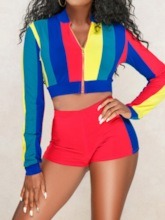 Casual Patchwork Shorts Color Block Zipper Women's Two Piece Sets