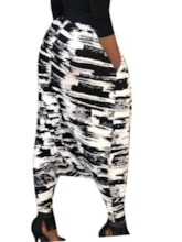 Slim Print Color Block Baggy Pants Women's Casual Pants