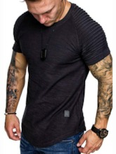 European Plain Round Neck Short Sleeve Men's T-shirt