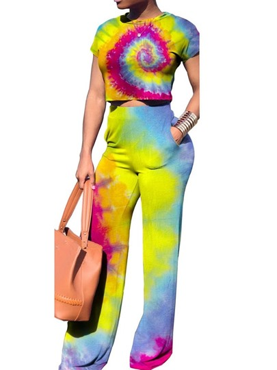 t-shirt tie-dye gradient casual pullover womens two piece sets