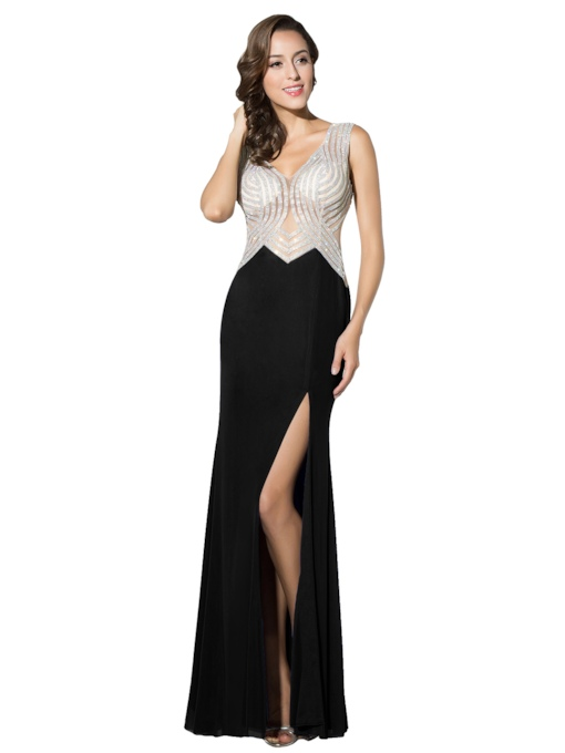 Floor-Length Sleeveless V-Neck Beading Evening Dress 2019