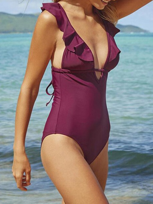 Patchwork Beach Look Plain One Piece Women's Swimwear