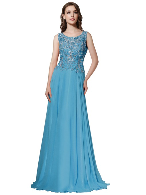 Sleeveless Beading Scoop A-Line Prom Dress 2019