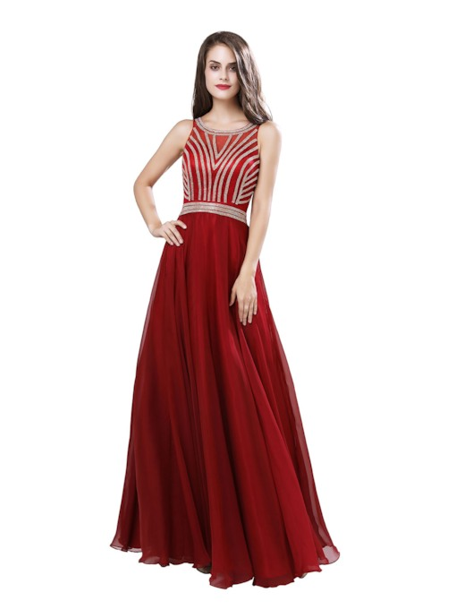 A-Line Scoop Floor-Length Beading Prom Dress 2019