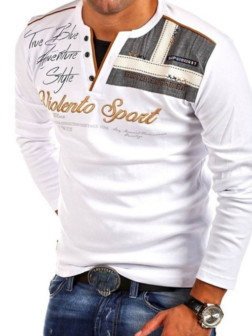 Print Casual Letter Long Sleeve Men's Polo T-shirt