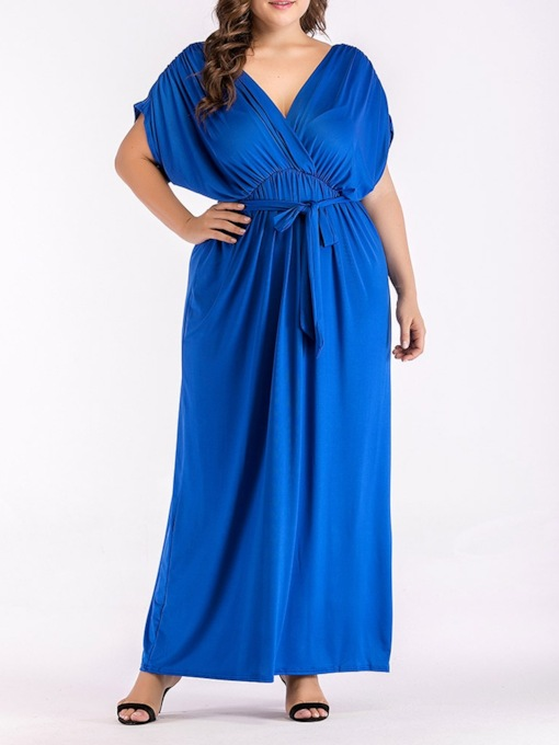 Plus Size V-Neck Lace-Up Short Sleeve Women's Maxi Dress