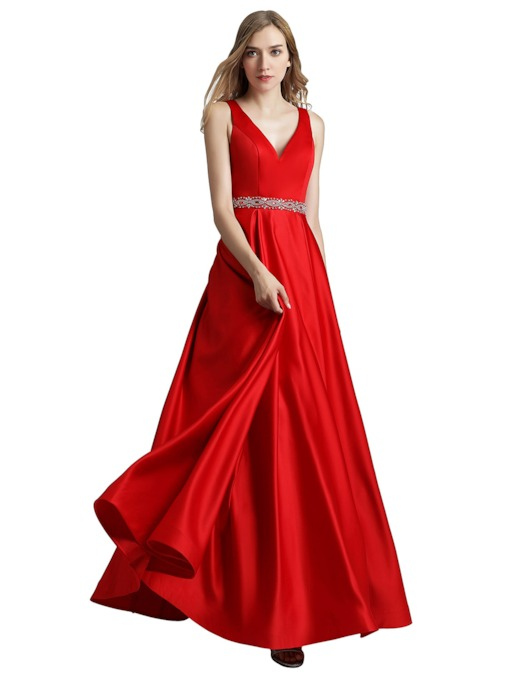 Floor-Length V-Neck Beading Sleeveless Prom Dress 2019