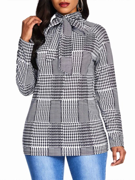 Bowknot Stand Collar Houndstooth Women's Blouse