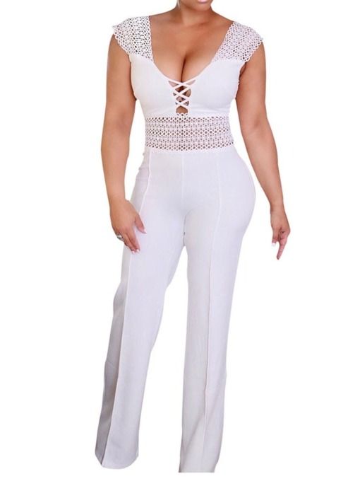 Plain Patchwork Full Length Casual Straight Women's Jumpsuit